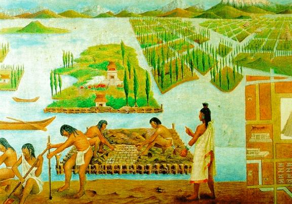 Representación del cultivo de la cultura azteca