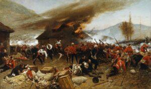 pintura que representa una batalla durante la guerra anglo-zulú de 1879