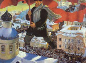 Pintura del artista ruso Boris Kustodiev que simboliza la Revolución rusa de 1917.