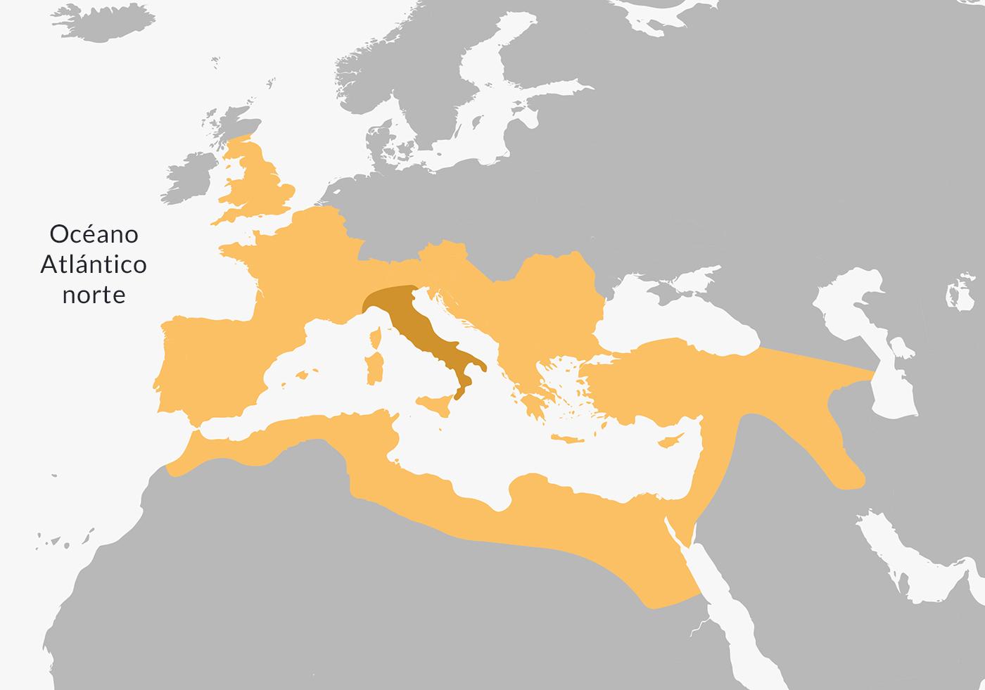 Ubicación en el mapa de la cultura romana.