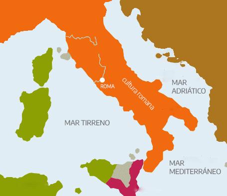 Ubicación de la cultura romana