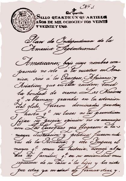 Documento del Plan de Iguala