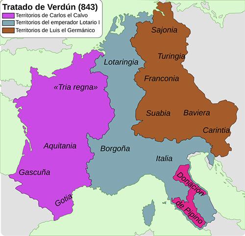 Imperio Carolingio luego del Tratado de Verdún