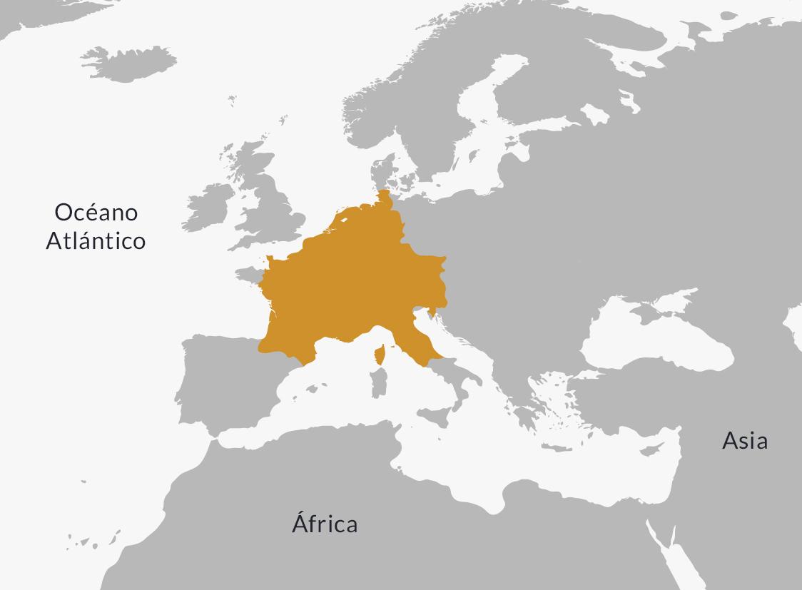 Ubicación del Imperio carolingio.