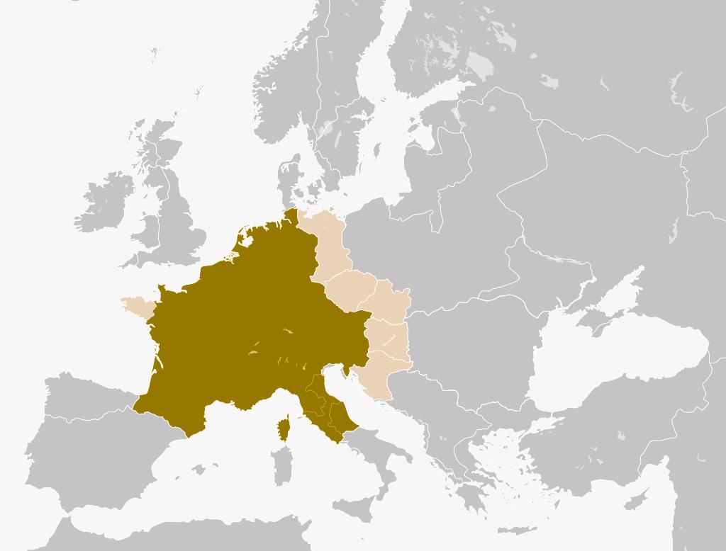 Ubicación del imperio Carolingio