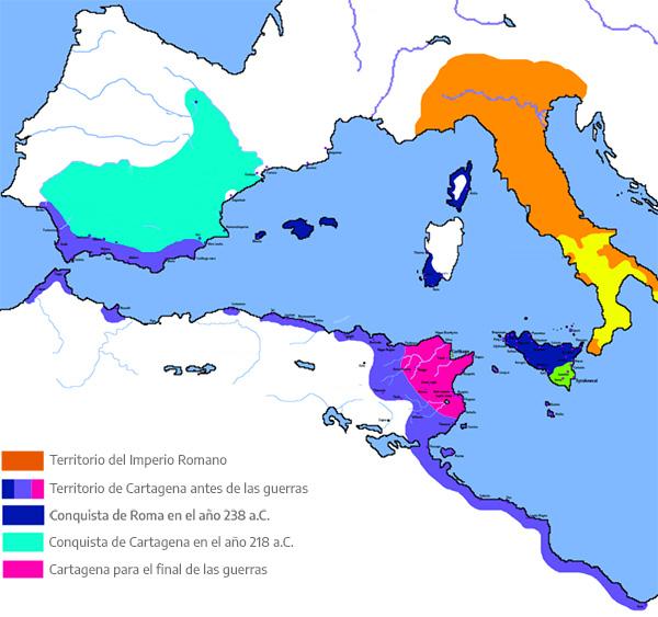 Mapa de las guerras púnicas