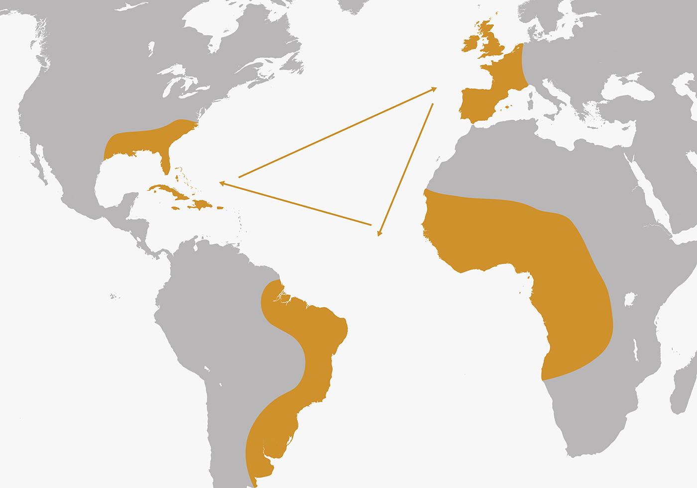Mapa del comercio triangular.