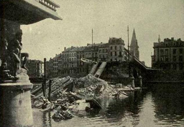 Puente destruido durante la Primera Guerra Mundial