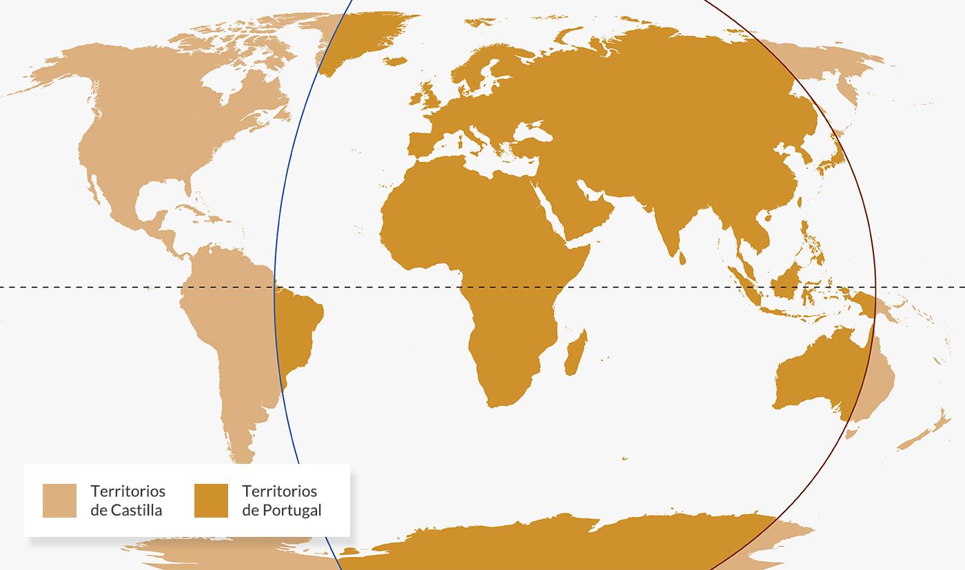 Límites de demarcación del Tratado de Tordesillas.