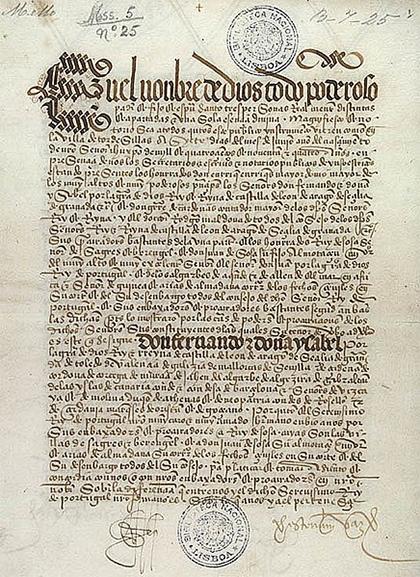 Página del Tratado de Tordesillas