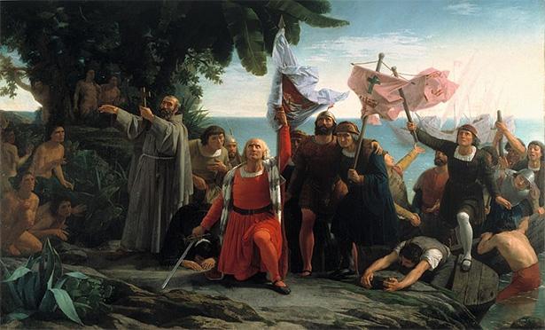 Desembarco de Colón durante el descubrimiento de América