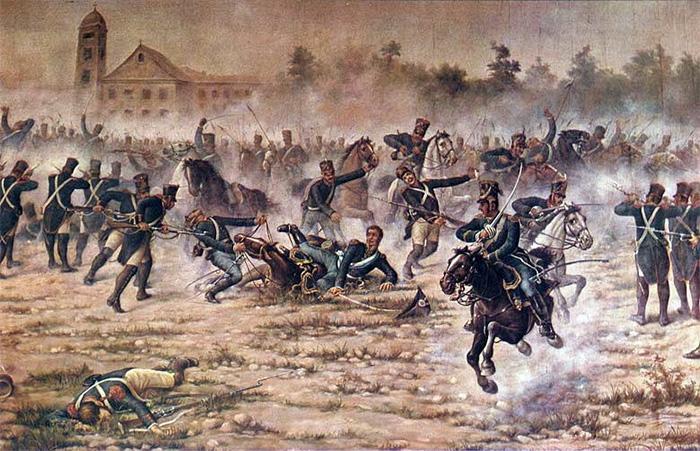Representación de la batalla de San Lorenzo