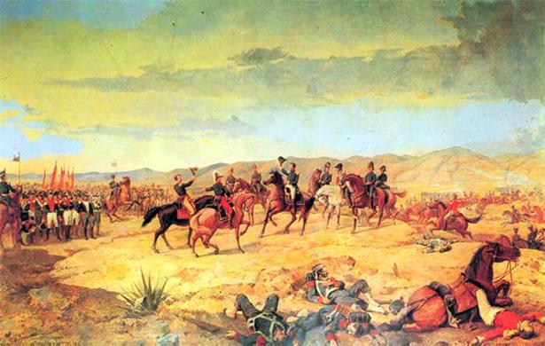 Representación de la batalla de Ayacucho