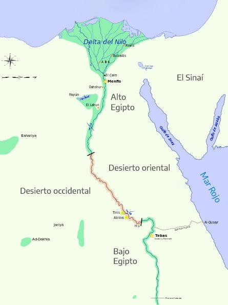 Ubicación en el mapa de la cultura egipcia