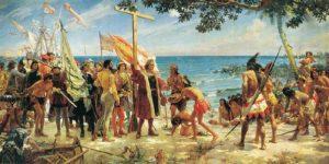Representacion de la colonización con la llegada a América