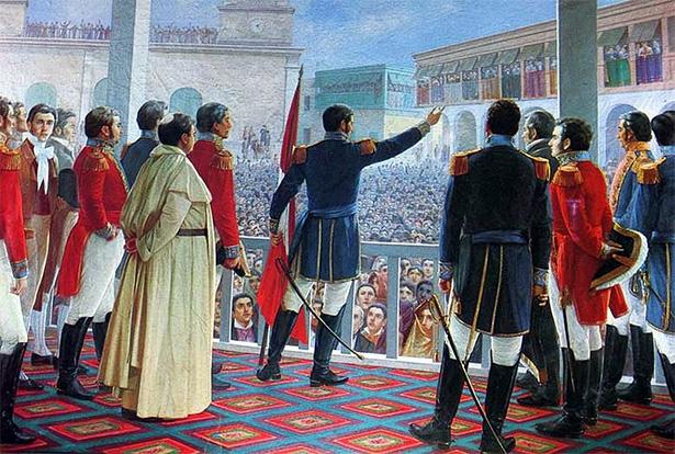 Representación de la independencia del Perú
