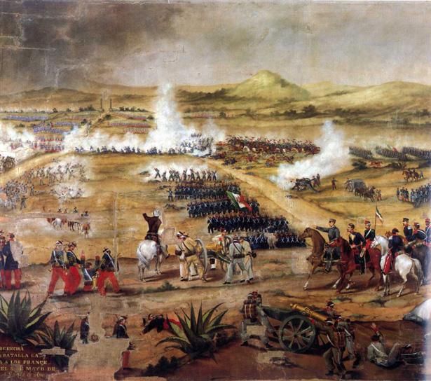 Representación de la batalla de Puebla