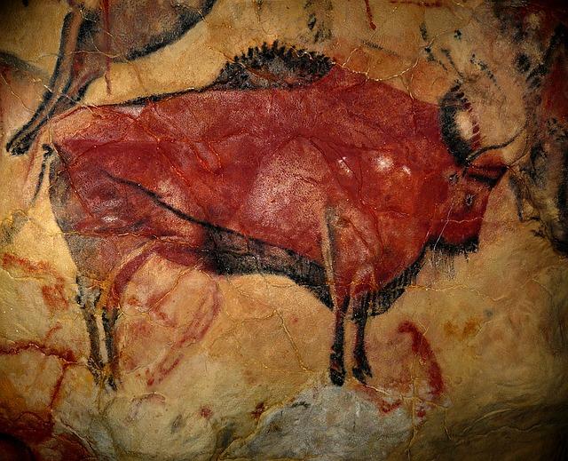 Fotografía de una pintura rupestre en el Paleolítico