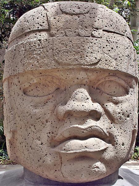 Photograph of an Olmec sculpture