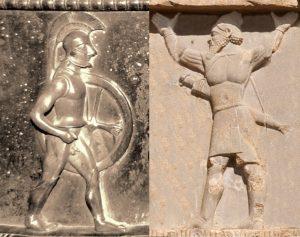 Hoplita griego y guerrero persa.