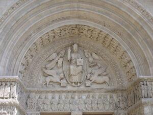 foto de una escultura de la iglesia de San Trófimo de Arlés