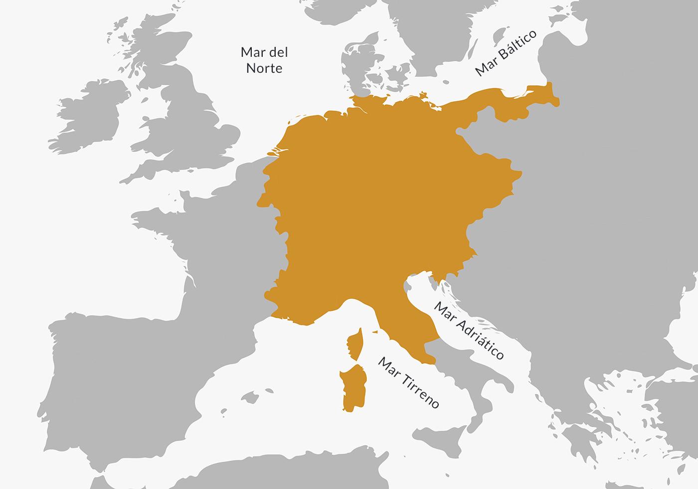 Mapa ubicación Sacro Imperio Romano Germánico.