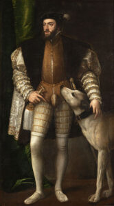 Retrato de Carlos V con un perro realizado por el pintor italiano Tiziano, en 1548.