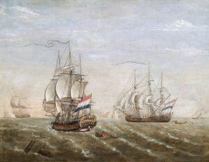 pintura de los Barcos de la Compañía Holandesa de las Indias Orientales.