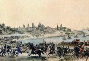 Escena de la segunda invasión inglesa a la ciudad de Buenos Aires