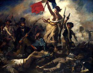pintura La Libertad guiando al pueblo.