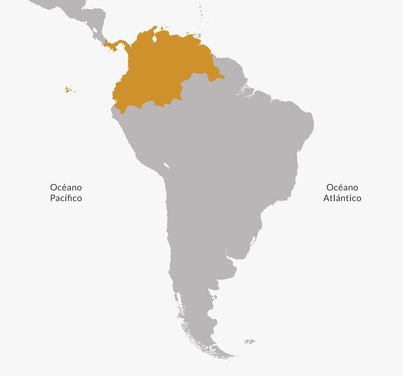 Ubicación del Virreinato de Nueva Granada.