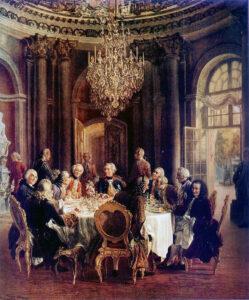 Voltaire junto a Federico II de Prusia y sus colaboradores, en el Palacio de Sanssouci. Óleo pintado por Adolph von Menzel