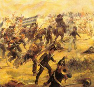 pintura de Batalla del Camino Real