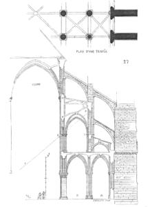 Corte vertical de la catedral de Notre Dame de París