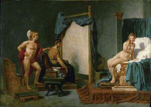 imagen de El artista Apeles pintando a Alejandro y a su concubina Campaspe.