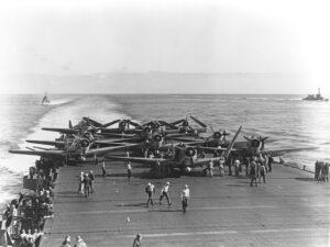 fotografía de pilotos estadounidenses del portaaviones Enterprise
