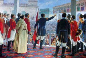 óleo de San Martín declarando la independencia de Perú