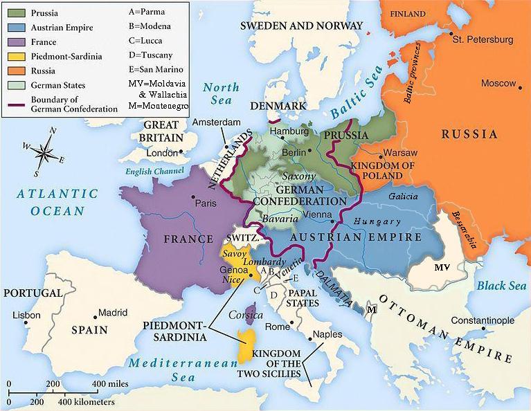 Europa luego del Congreso de Viena.