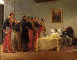 pintura de la muerte de Simón Bolivar