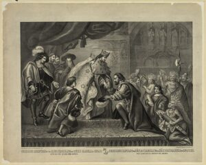 grabado de Colón con los Reyes Católicos