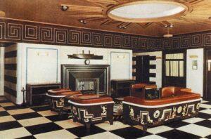 fotografía del Salón de fumadores de primera clase del crucero M/S Kungsholm.