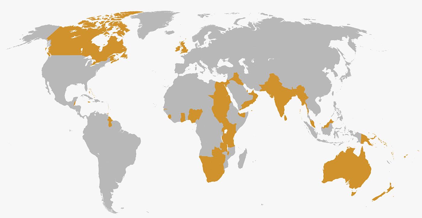 Mapa del Imperio Británico.