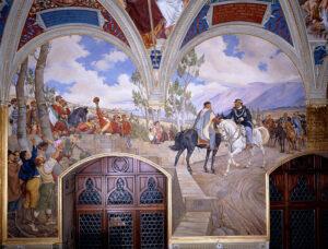 pintura del encuentro entre Giuseppe Garibaldi y Víctor Manuel II
