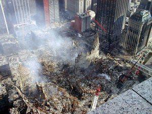 fotografía aérea de las ruinas del World Trade Center de Nueva York