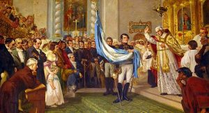 illustration of the Blessing of the Argentine flag