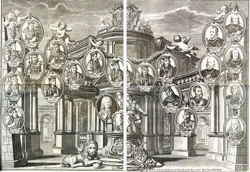 Imagen de la dinastía de los Austrias españoles que aparecen como sucesores de los emperadores Incas.