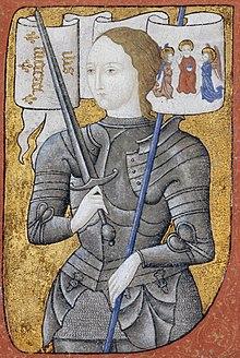 Retrato imaginario de Juana de Arco con su armadura y su estandarte.
