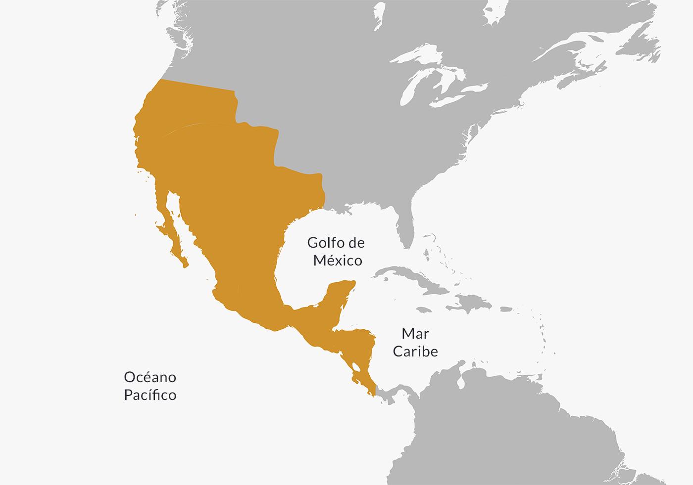 Ubicación del Primer Imperio Mexicano