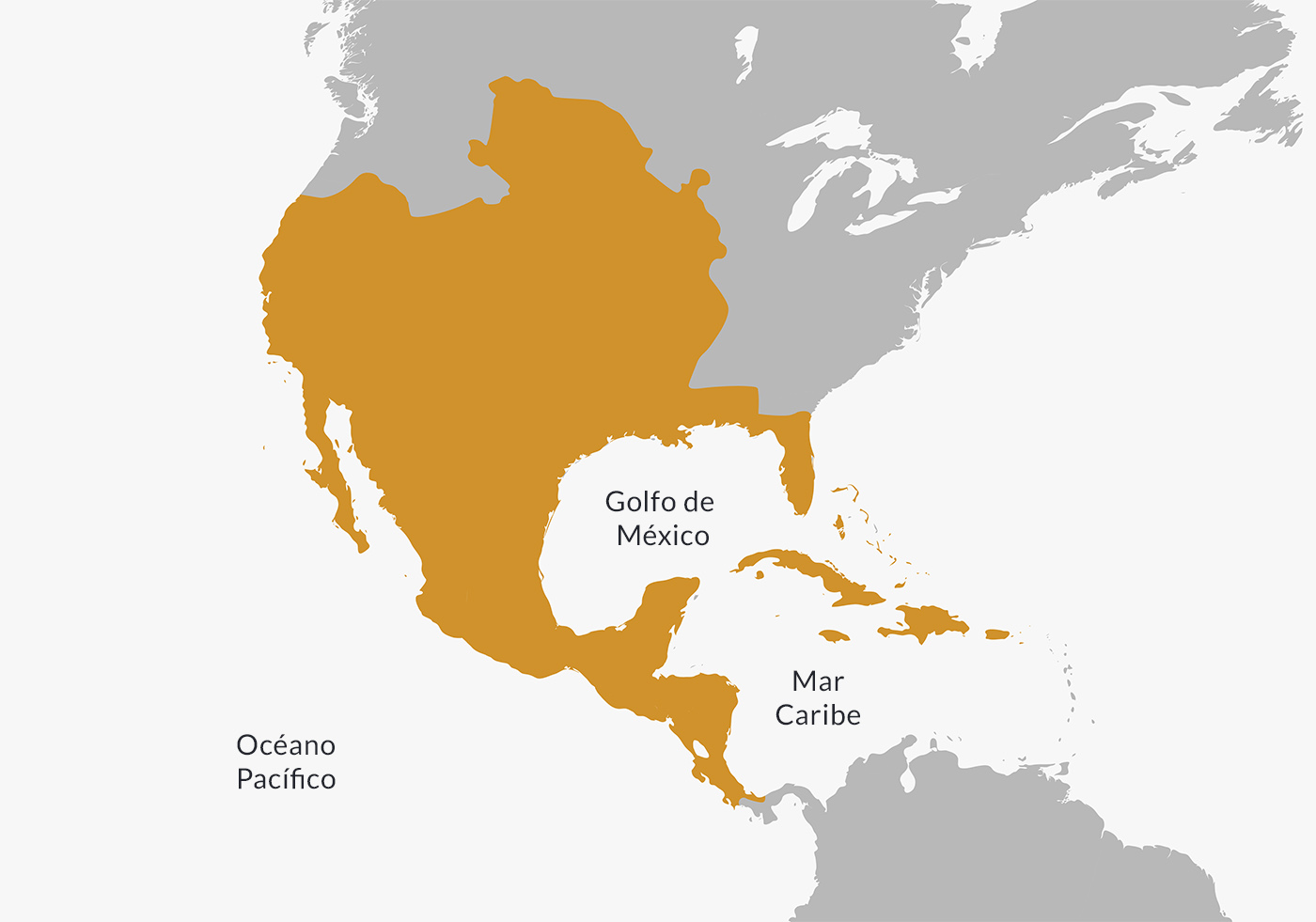 Mapa ubicación del Virreinato de Nueva España.